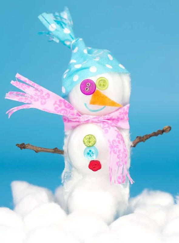 51 CUTEST Snowman Crafts | Scrap button and fabric snowman