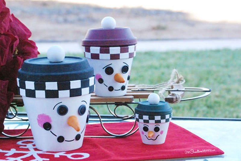 51 CUTEST Snowman Crafts | Terra Cotta Pot Snowmen