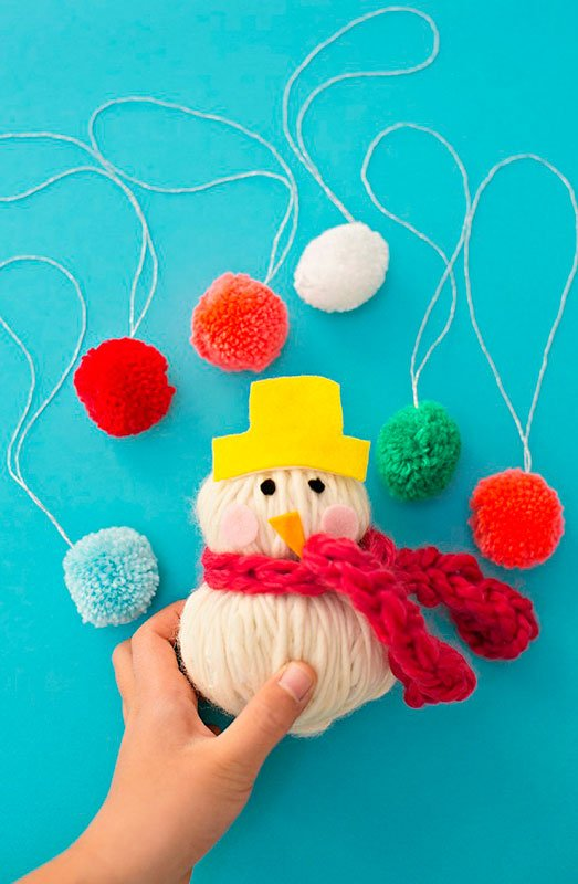 51 CUTEST Snowman Crafts | Yarn Softie Snowman Craft