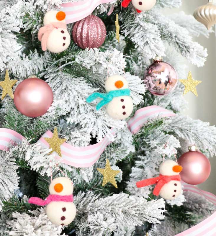 51 CUTEST snowman crafts | Felted Snowman Ornaments