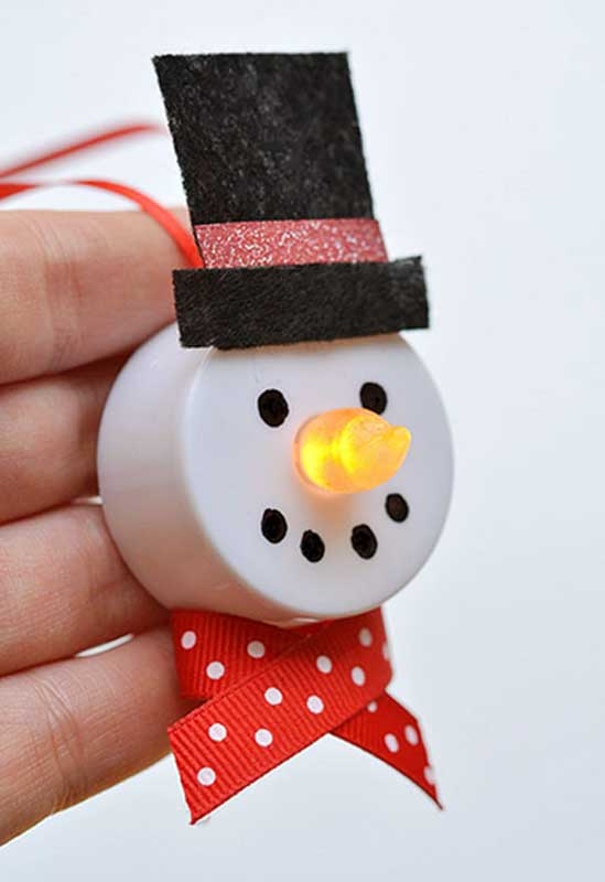 51 CUTEST Snowman Crafts | Battery-Operated Snowman Ornament
