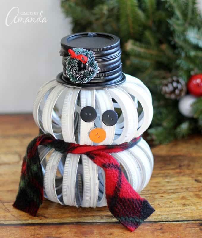 51 CUTEST Snowman Crafts | mason jar top snowman craft