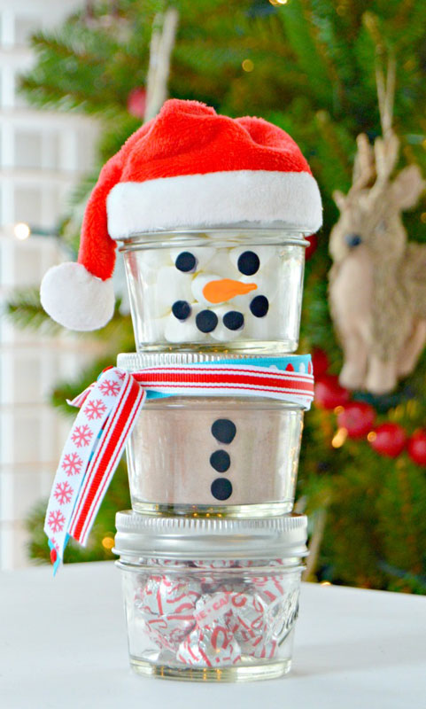 51 CUTEST Snowman Crafts | hot chocolate snowman gift