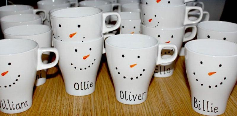 51 CUTEST Snowman Crafts | DIY sharpie snowman mug