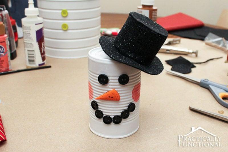51 CUTEST Snowman Crafts | tin can snowman