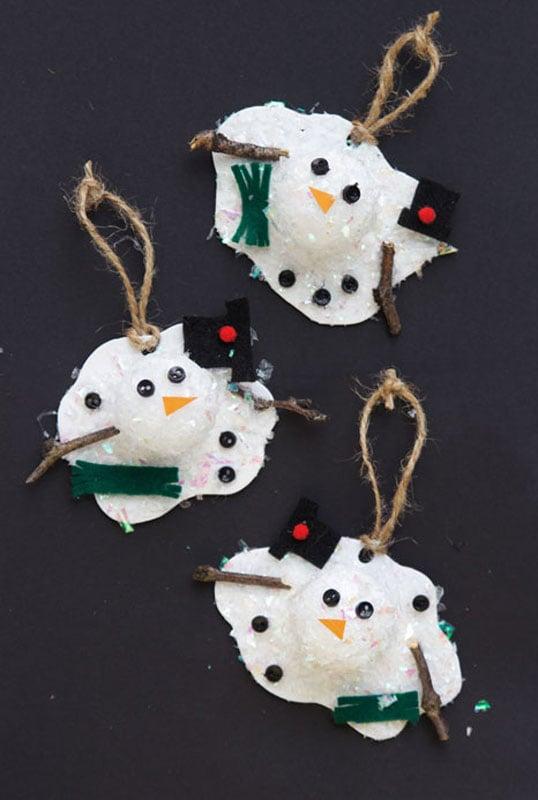 51 CUTEST Snowman Crafts | Melted snowman ornament craft