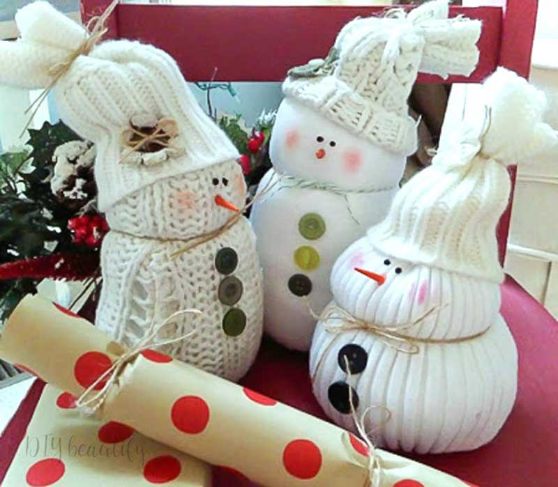 51 CUTEST Snowman Crafts | Upcycled Sweather snowmen