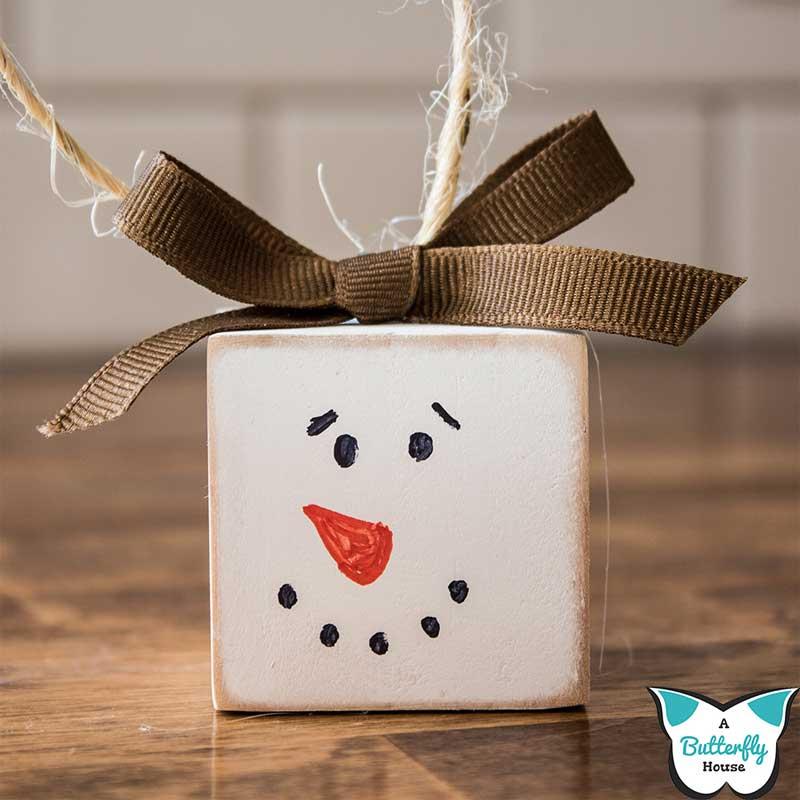 51 CUTEST Snowman Crafts | Wood Block Snowman Ornament