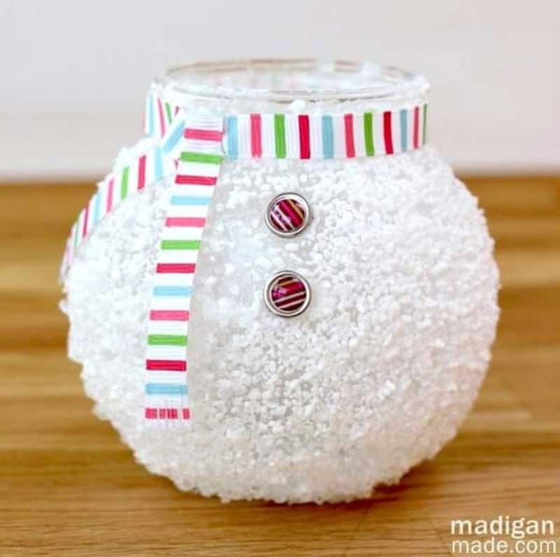 51 CUTEST Snowman Crafts | Epsom salt snowman votive candle holder craft