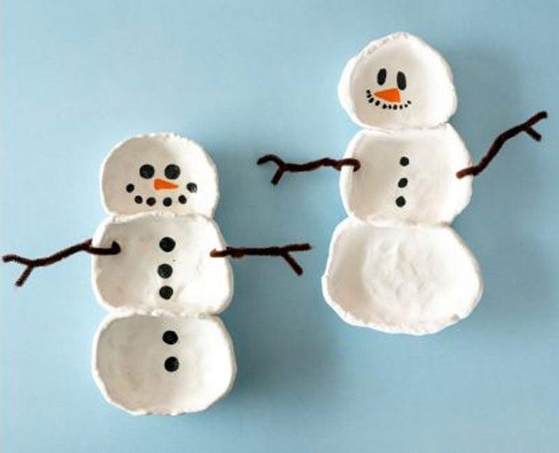 51 CUTEST Snowman Crafts | DIY clay trinket bowl snowman