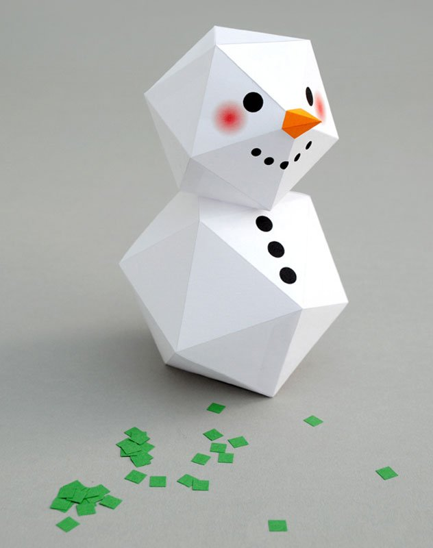 51 CUTEST snowman crafts | Geometric stacked snowman craft