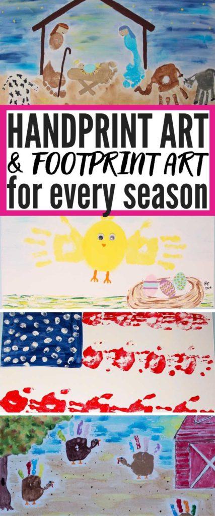 handprint art and footprint art for every season - showing four examples of seasonal kids handprint and footprint art ideas