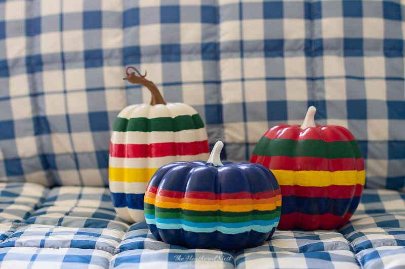 Hudson Bay Blanket Inspired Painted Pumpkins