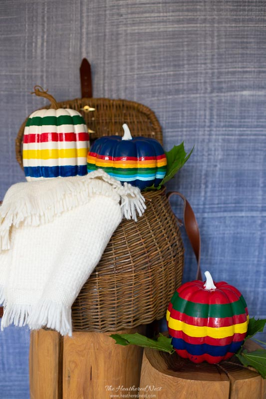 Hudson Bay Blanket Inspired Painted Pumpkins - Pendleton National Park Service Blanket Inspired Striped Pumpkins