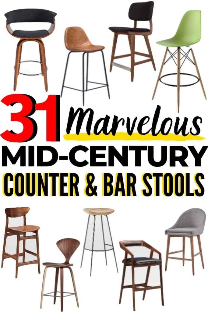 31 BEST Mid-Century Modern Bar Stools and Mid-Century Modern Counter Stools