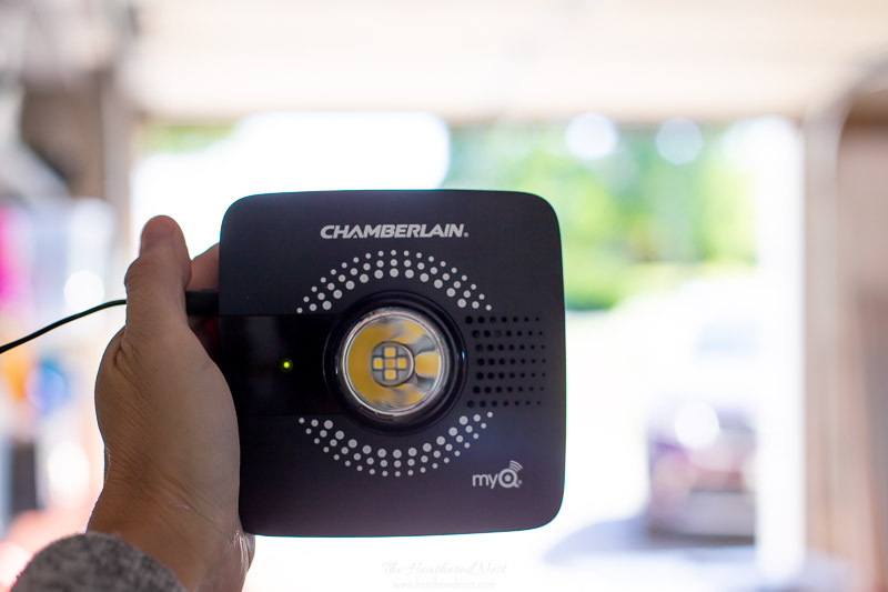 The Chamberlain (CGI) myQ smart garage hub unit which will be installed on the ceiling of your garage when purchased using two screws and drywall anchors