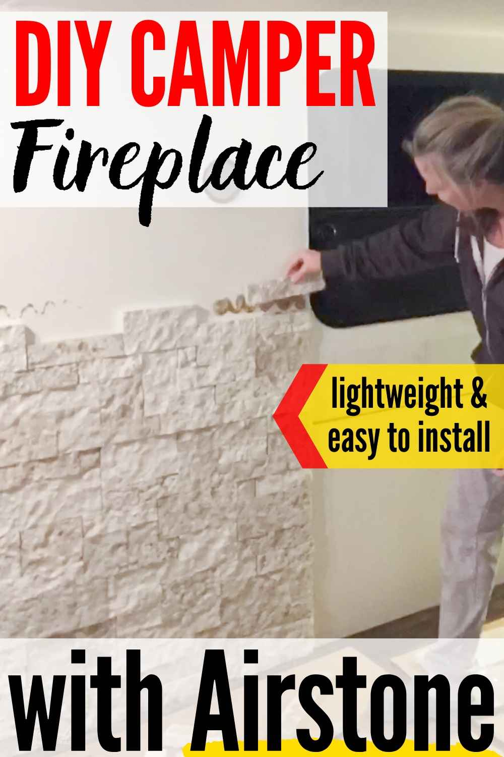 Easy & Lightweight DIY Airstone RV Fireplace Feature Wall