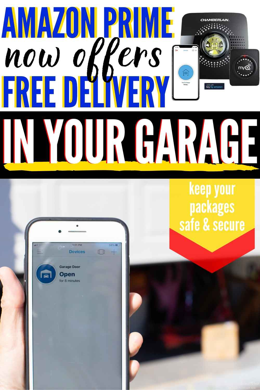 "myQ smart garage hub: text ""Amazon Prime now offers free delivery in your garage. Keep your packages safe and secure"" showing pic of myQ App and package inside garage door."