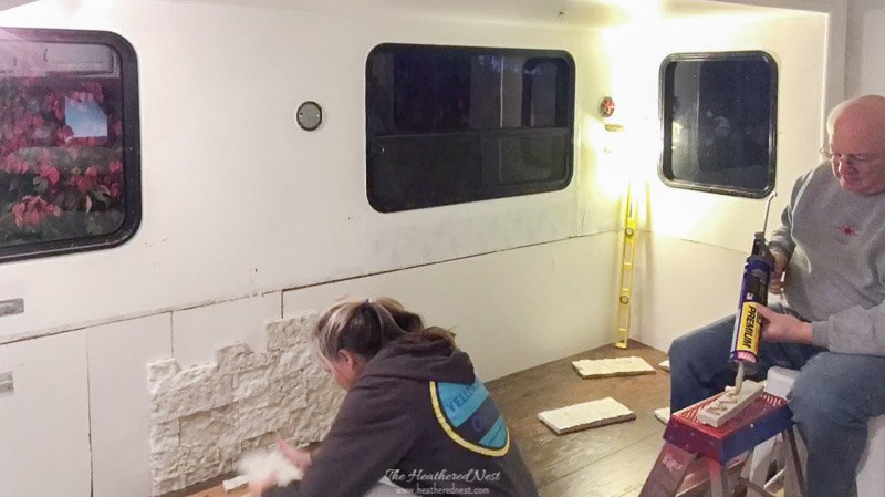 DIY Airstone RV Fireplace Accent Wall Installation