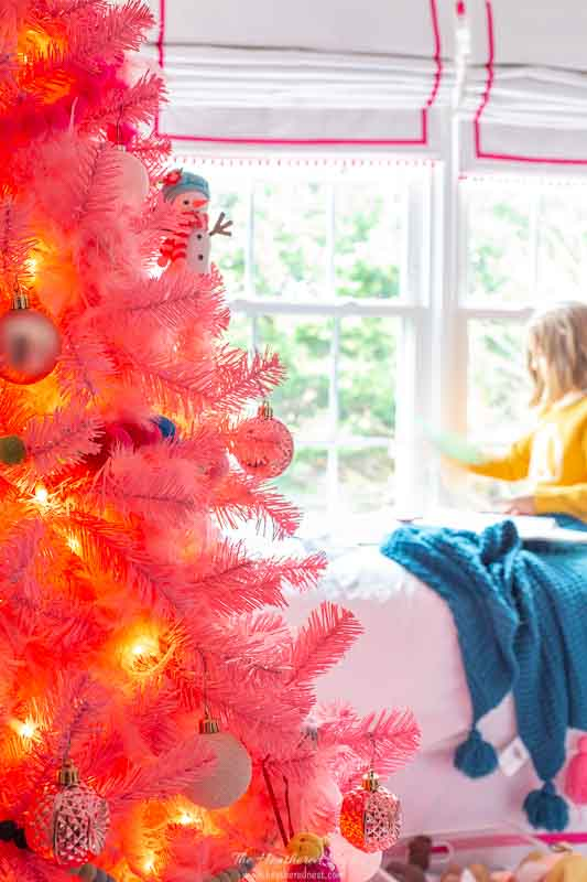 girl bedroom holiday tour - decorated pink christmas tree