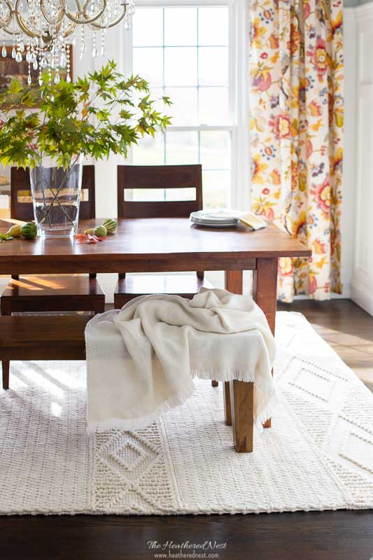 serena and lily macrame rug, milo alpaca throw, honey basque dining set crate & barrel