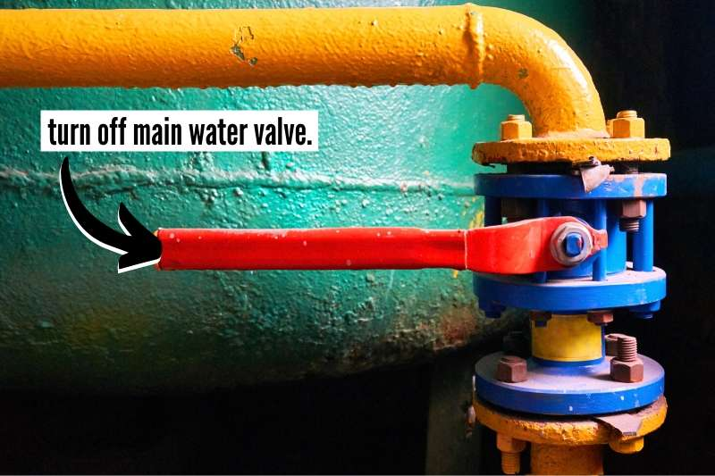 19 Things To Do At Home Before You Travel Checklist - turn off main water valve - image of main water valve in off position