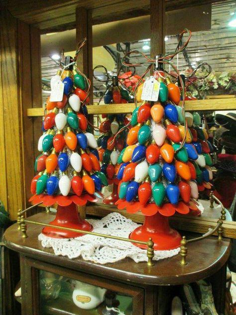 21 BRIGHT Ideas for Reusing Vintage Christmas Lights | Old fashioned christmas lights trees