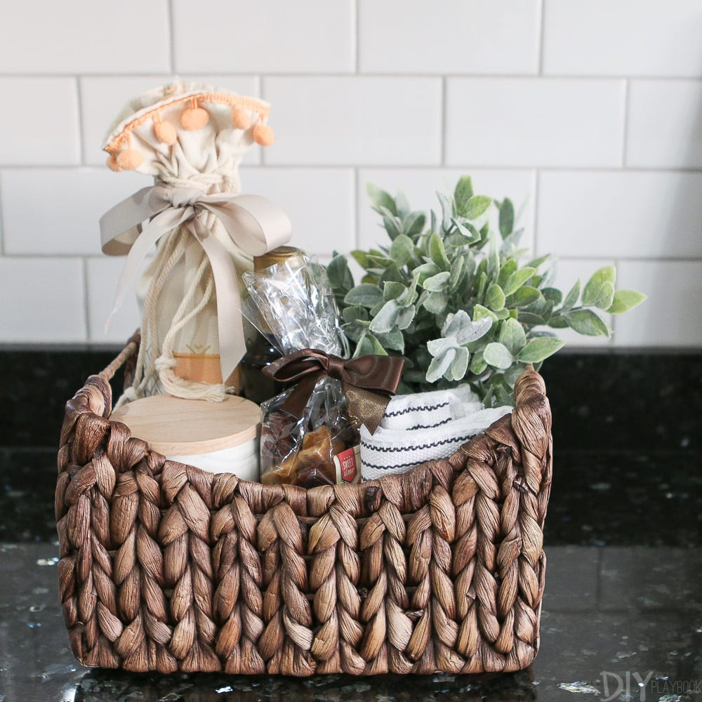 gfit wrap in a basket - eco-friendly gift wrapping ideas