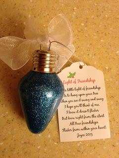 21 BRIGHT Ideas for Reusing Vintage Christmas Lights | Friendship poem and vintage bulb ornament