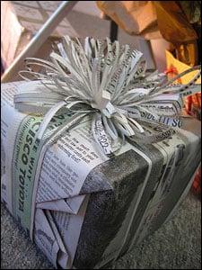 Newsprint as alternative gift wrap!