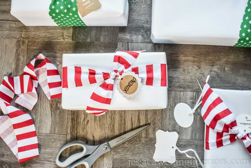 Reusable Wrapping Paper Ideas: scrap fabric ribbon