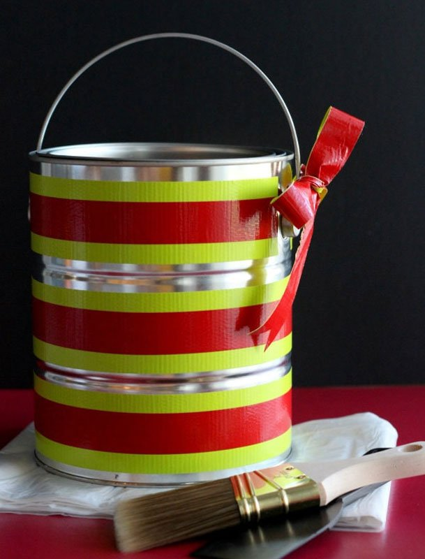 Reusable Wrapping Paper Ideas: decorated paint can