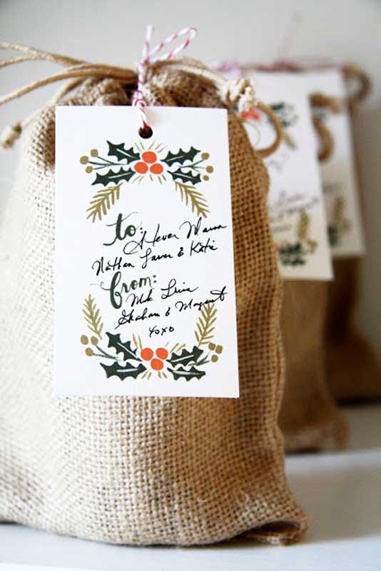 Reusable Wrapping Paper Ideas: burlap bag