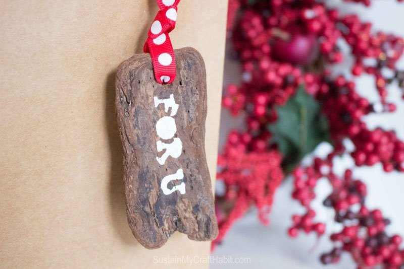 Reusable Wrapping Paper Ideas: tree bark gift tags