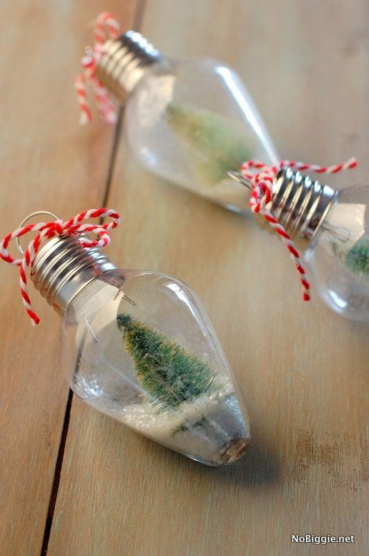 21 BRIGHT Ideas for Reusing Vintage Christmas Lights | Mini Snow Globe Ornaments