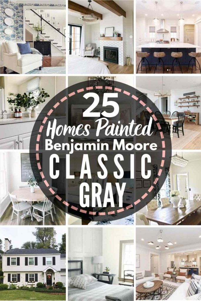 """grid with 15 rooms each painted Classic Gray, text """"25 homes painted Benjamin Moore Classic Gray"""""""
