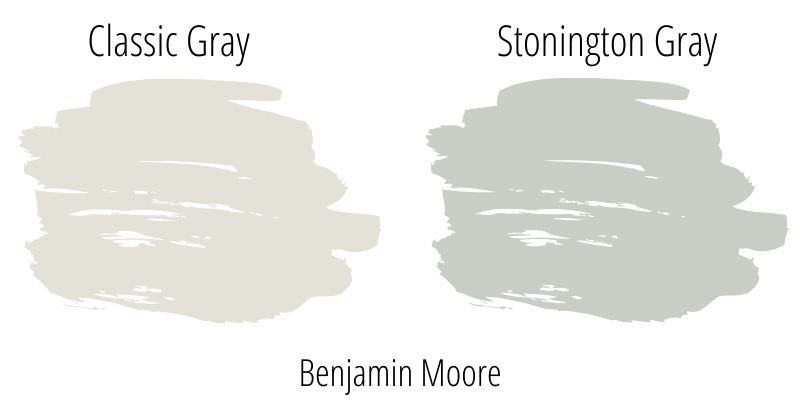 Benjamin Moore Classic Gray (OC-23) versus BM Stonington Gray (HC-170)