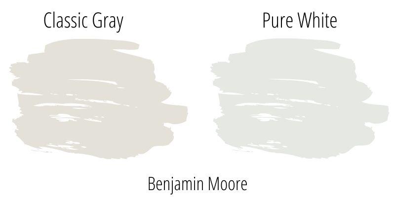 Benjamin Moore Classic Gray OC-23 versus BM Pure White OC-64