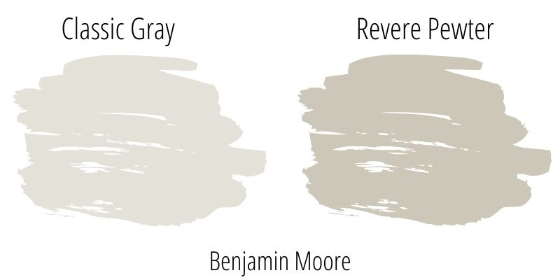 Benjamin Moore OC-23 Classic Gray versus Revere Pewter HC-172