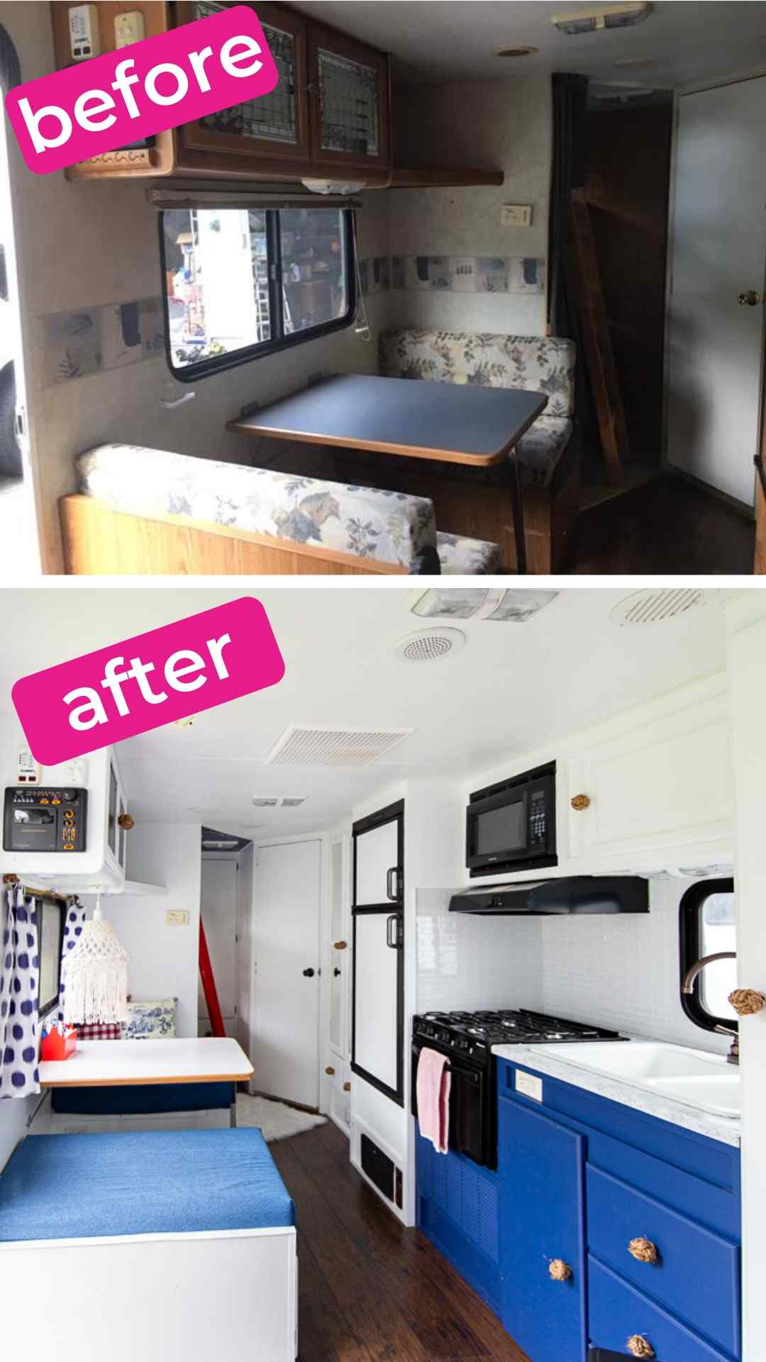 camper before and after interior
