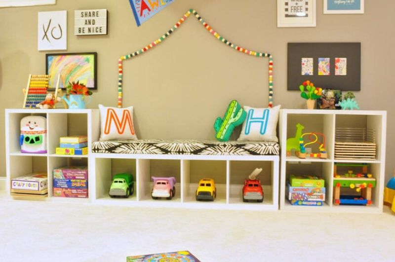Playroom storage and bench seat Ikea Kallax hack