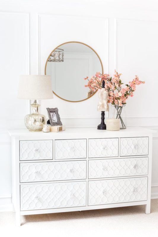 painted white appliques on a Hemnes dresser