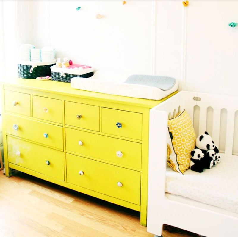 bright yellow hemnes dresser hack with fun knobs