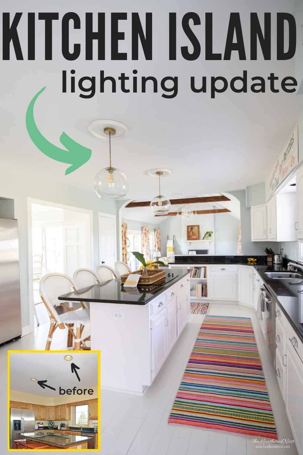 It's amazing what a difference changing the lighting over your kitchen island can make! During our $1000 kitchen renovation, we changed the recessed can lights to pendant lighting and have now installed these gorgeous brass globe pendant lights over the island.