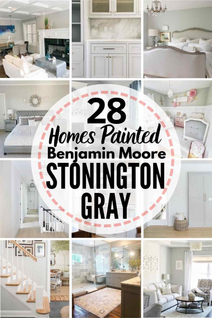 """grid with 15 rooms each painted Stonington Gray, text overlay """"28 homes painted Benjamin Moore Stonington Gray"""""""