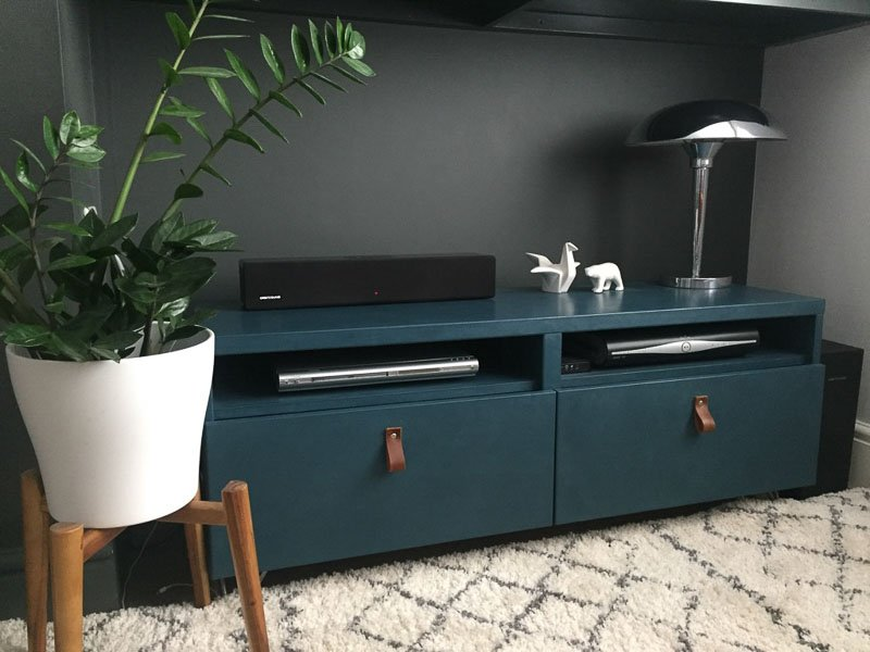 teal blue media console besta hack
