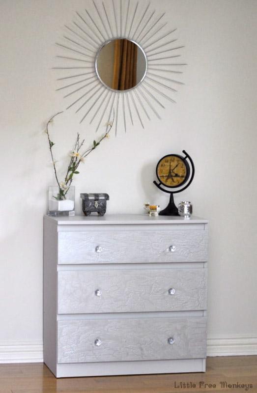 crackled paint malm dresser upgrade