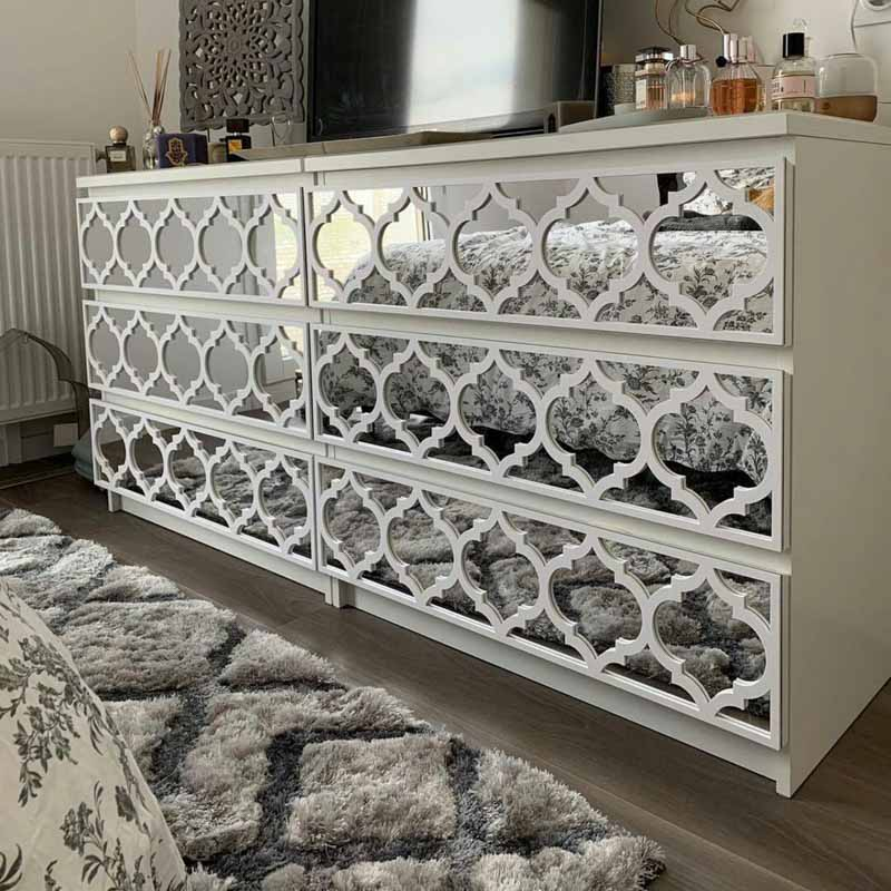 mirrored drawer panel malm dresser upgrade