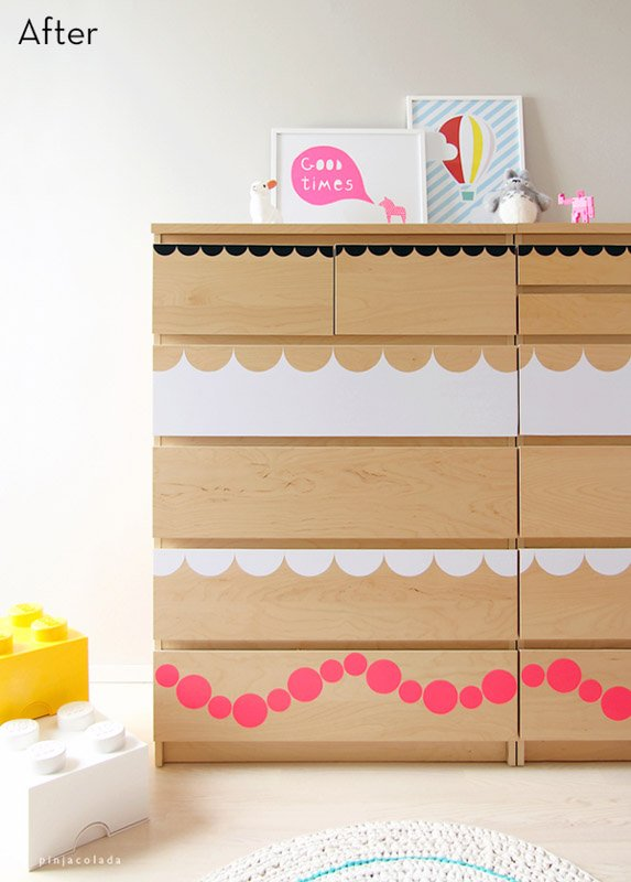 cut out stickers malm dresser hack