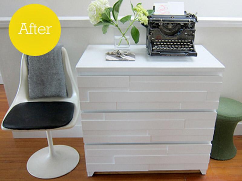 monochrome white wood malm dresser hack